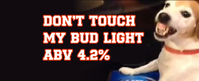 Bud Light ABV 4.2% – Dog protects his golden treasure
